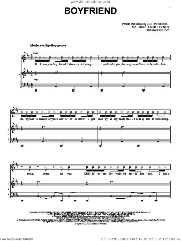 Boyfriend sheet music for voice, piano or guitar by Justin Bieber, Mason Levy, Mat Musto and Mike Posner, intermediate. Score Image Preview.
