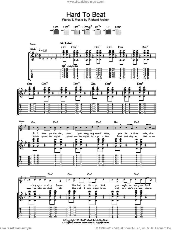 Hard To Beat sheet music for guitar (tablature) by Hard-Fi, intermediate. Score Image Preview.
