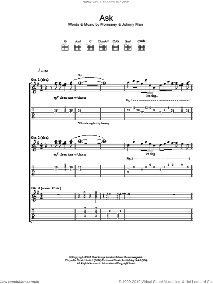 Ask sheet music for guitar (tablature) by The Smiths, Johnny Marr and Steven Morrissey, intermediate skill level