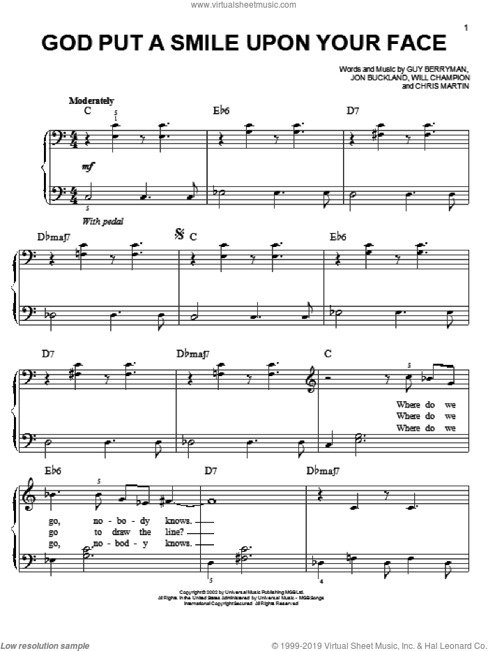 God Put A Smile Upon Your Face sheet music for piano solo by Will Champion, Coldplay, Chris Martin, Guy Berryman and Jon Buckland. Score Image Preview.