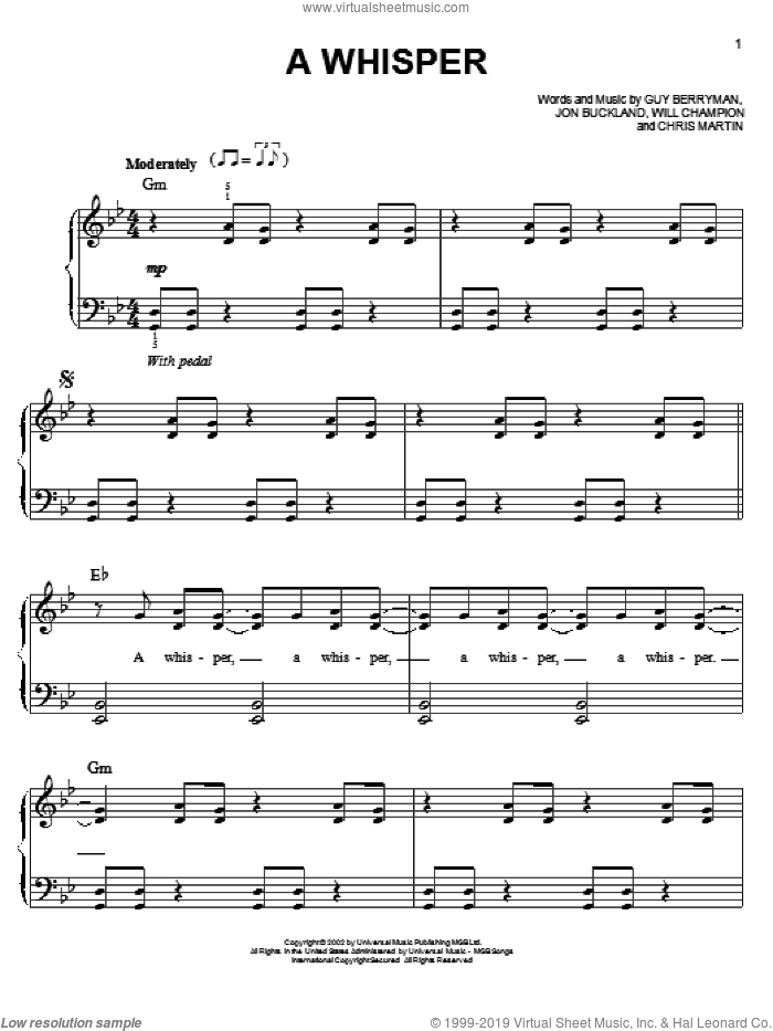 A Whisper sheet music for piano solo by Coldplay. Score Image Preview.