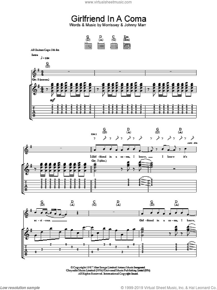Girlfriend In A Coma sheet music for guitar (tablature) by The Smiths, Johnny Marr and Steven Morrissey, intermediate guitar (tablature). Score Image Preview.