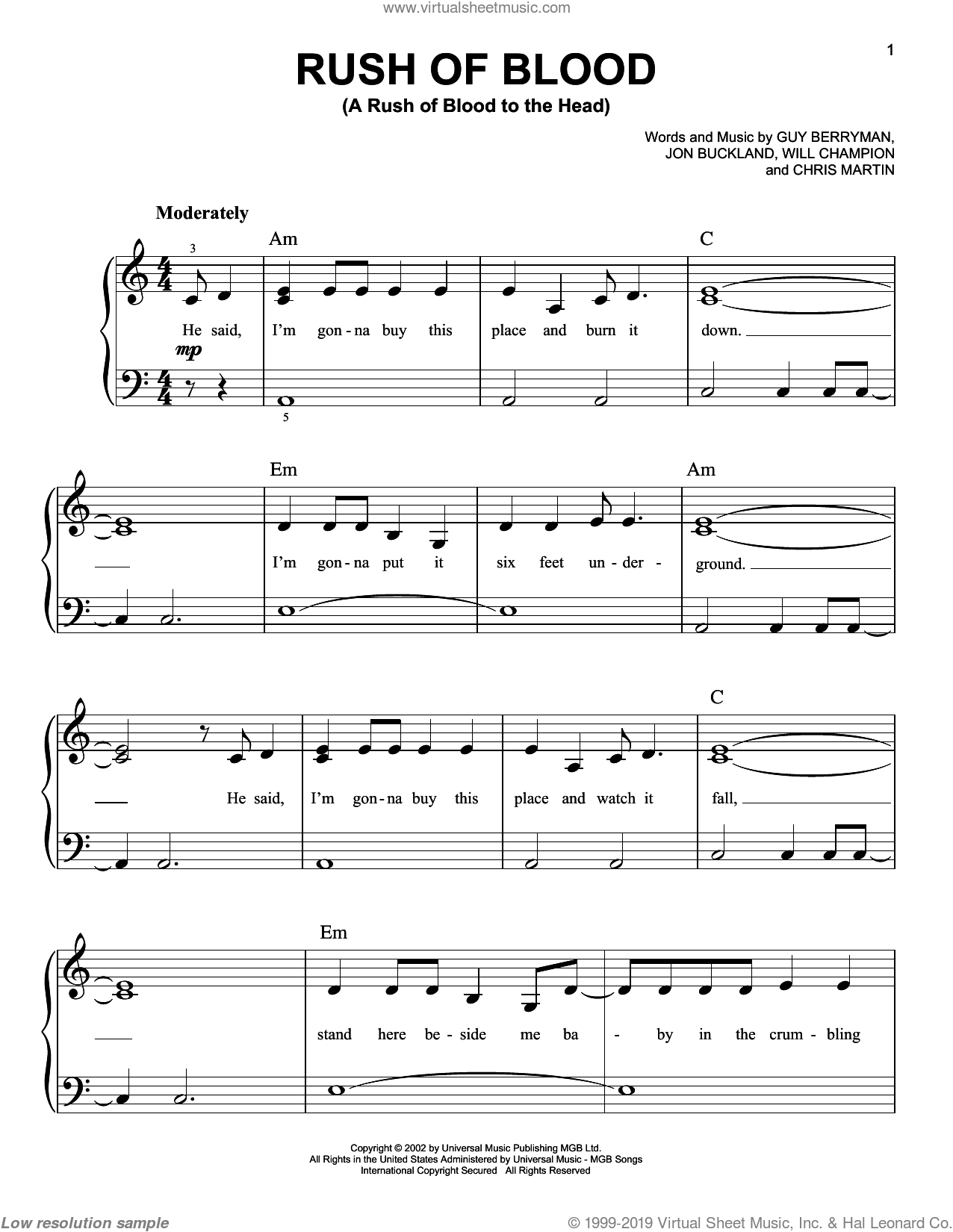 Rush Of Blood (A Rush Of Blood To The Head) sheet music for piano solo by Coldplay, easy piano. Score Image Preview.
