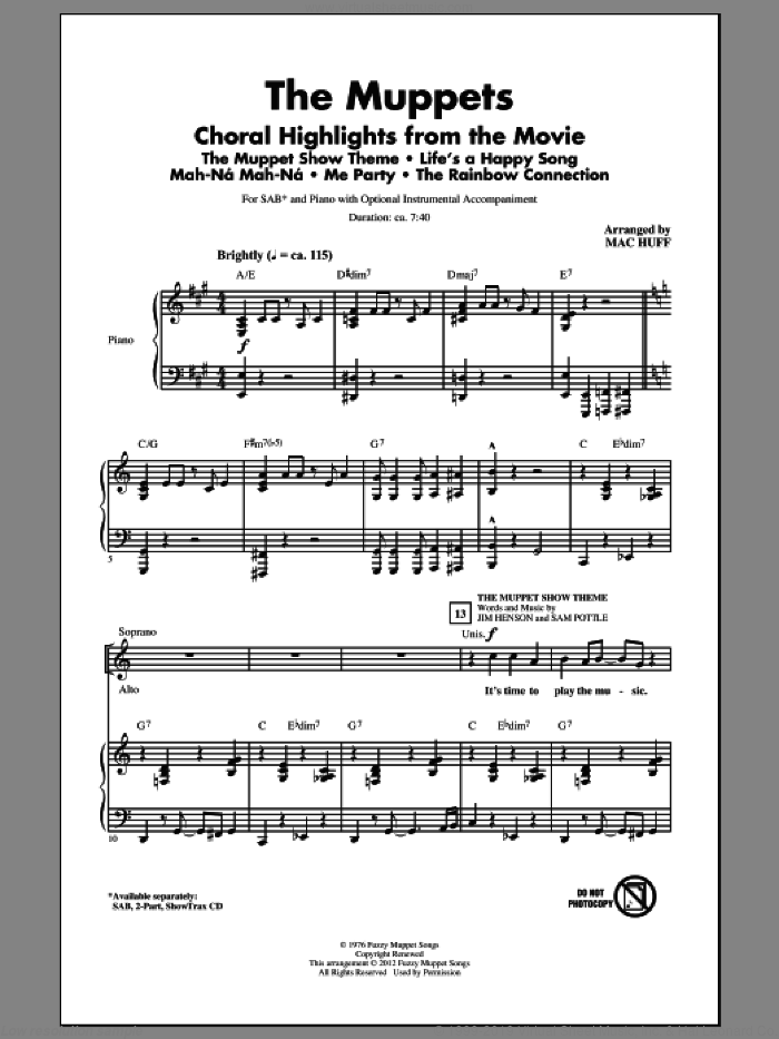 The Muppets (Choral Highlights) sheet music for choir (SAB: soprano, alto, bass) by Bret McKenzie, Mac Huff and The Muppets, intermediate skill level