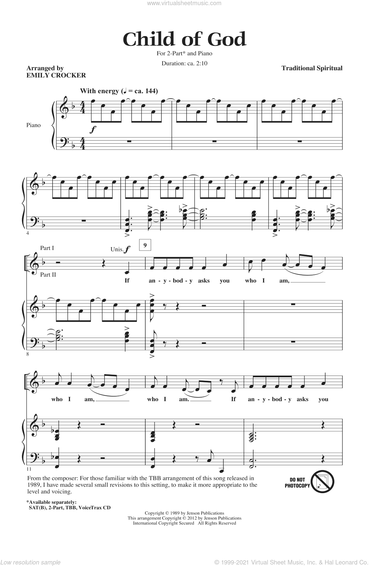 Child Of God sheet music for choir and piano (duets)  and Emily Crocker. Score Image Preview.