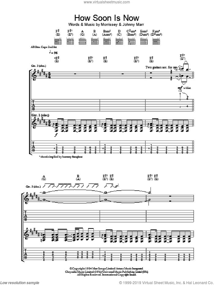 How Soon Is Now? sheet music for guitar (tablature) by The Smiths, Johnny Marr and Steven Morrissey, intermediate skill level