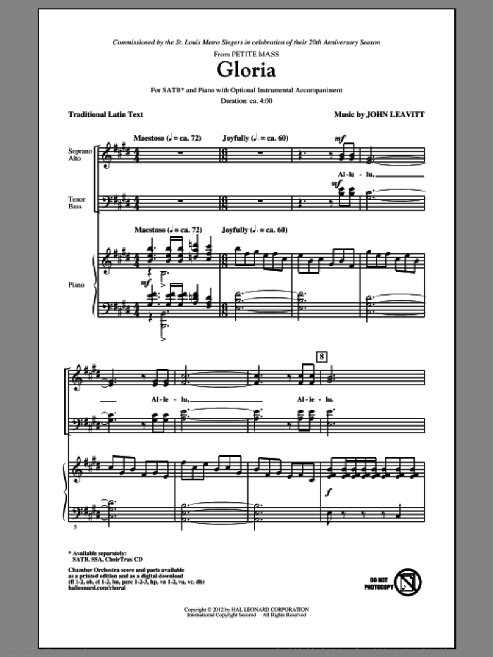 Gloria sheet music for choir (SATB) by John Leavitt. Score Image Preview.