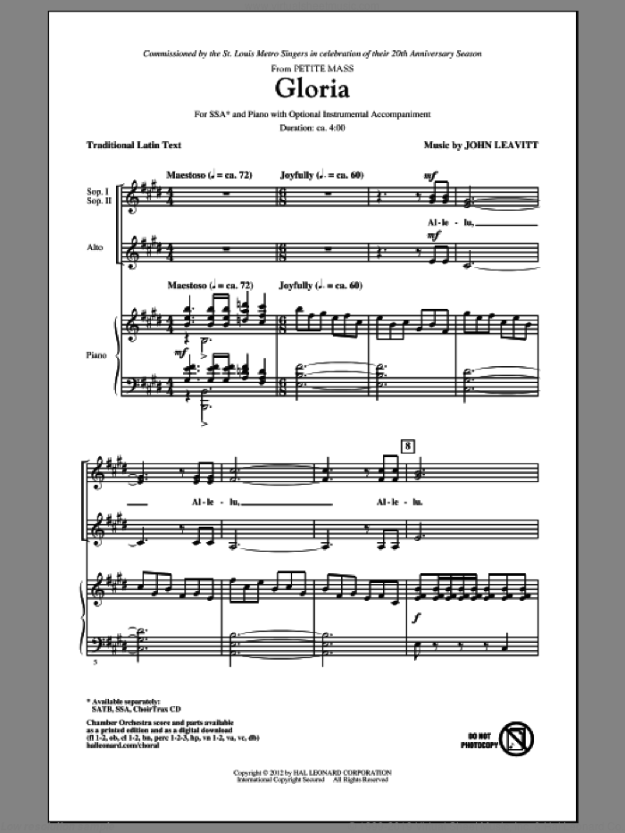 Gloria sheet music for choir and piano (SSA) by John Leavitt
