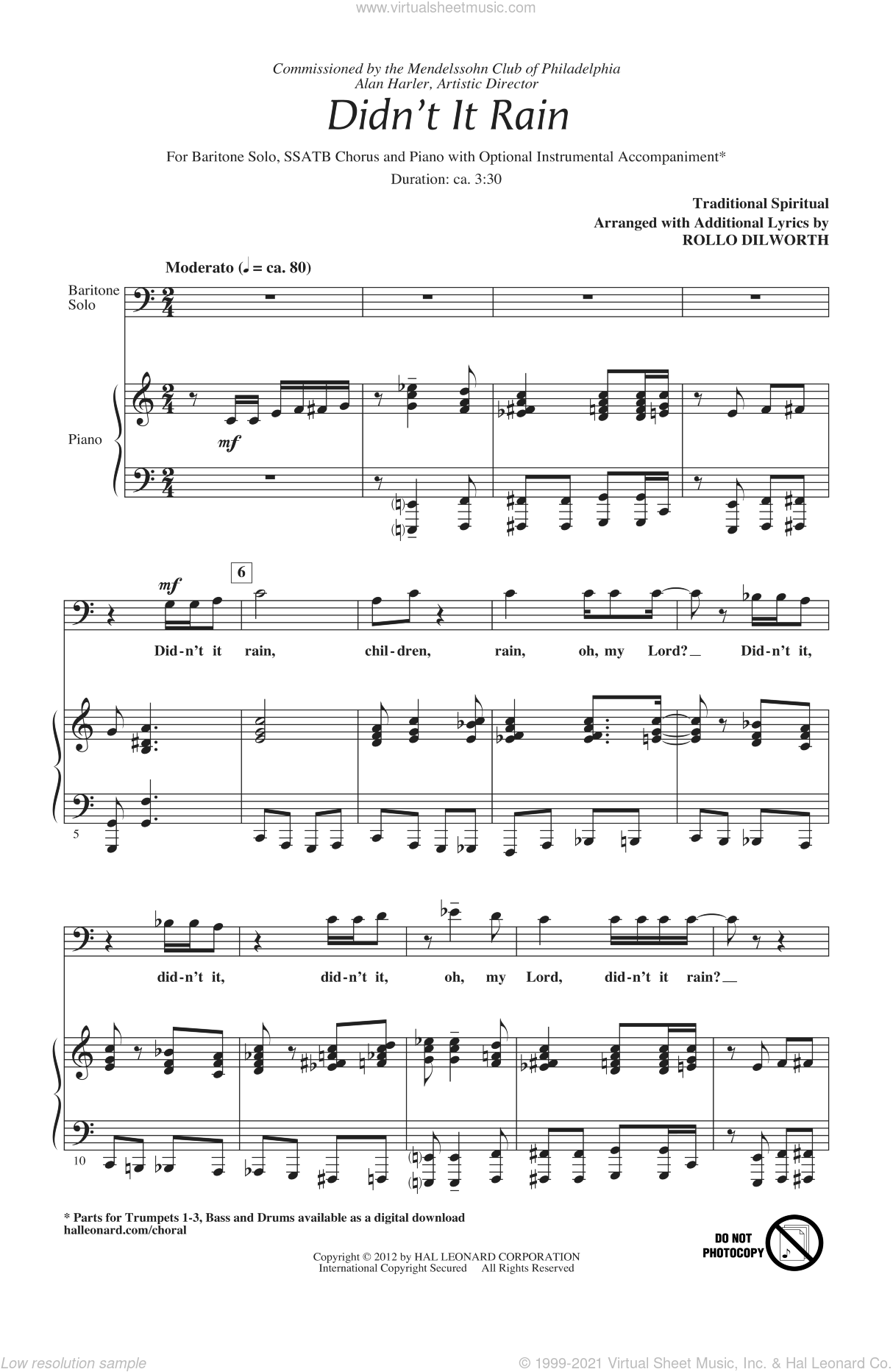 Didn't It Rain sheet music for choir and piano (SATB)