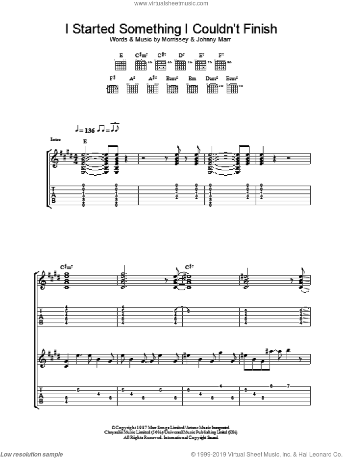 I Started Something I Couldn't Finish sheet music for guitar (tablature) by The Smiths, Johnny Marr and Steven Morrissey. Score Image Preview.