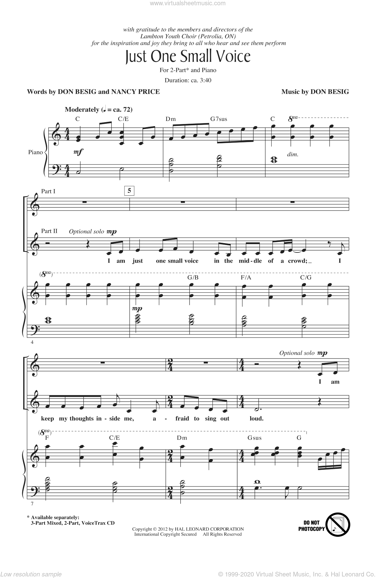 Just One Small Voice sheet music for choir (2-Part) by Don Besig and Nancy Price, intermediate duet