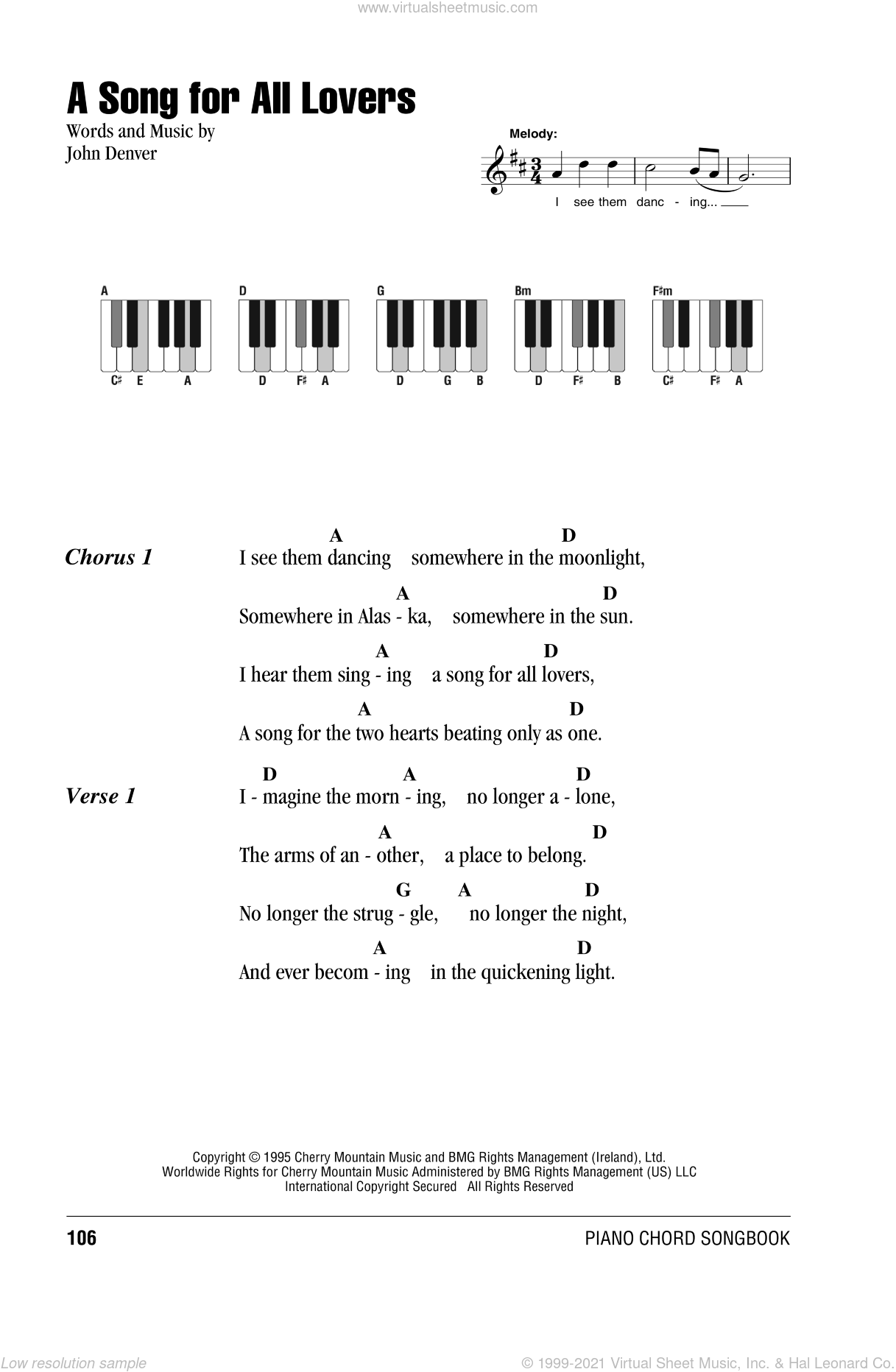 A Song For All Lovers sheet music for piano solo (chords, lyrics, melody) by John Denver, intermediate piano (chords, lyrics, melody)