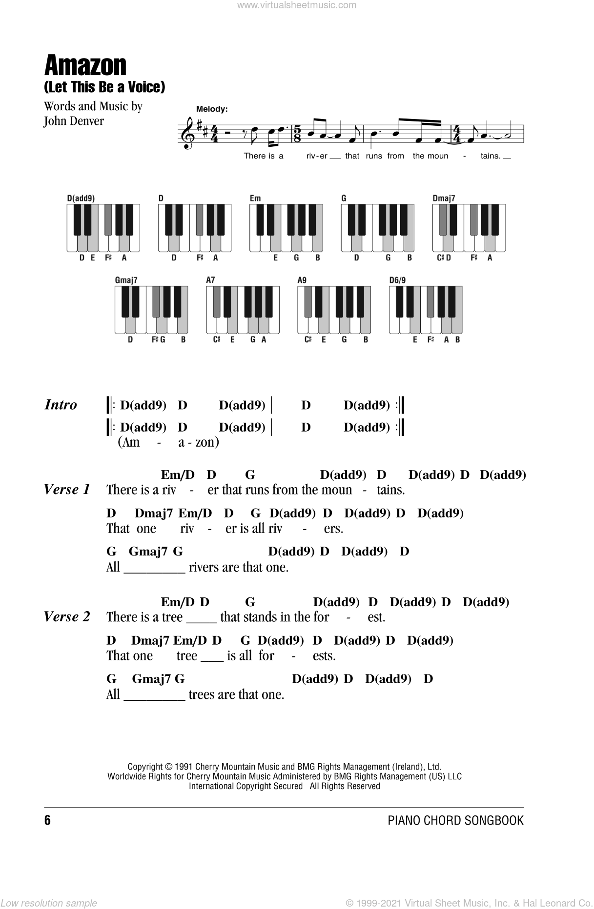 Amazon (Let This Be A Voice) sheet music for piano solo (chords, lyrics, melody) by John Denver, intermediate piano (chords, lyrics, melody). Score Image Preview.