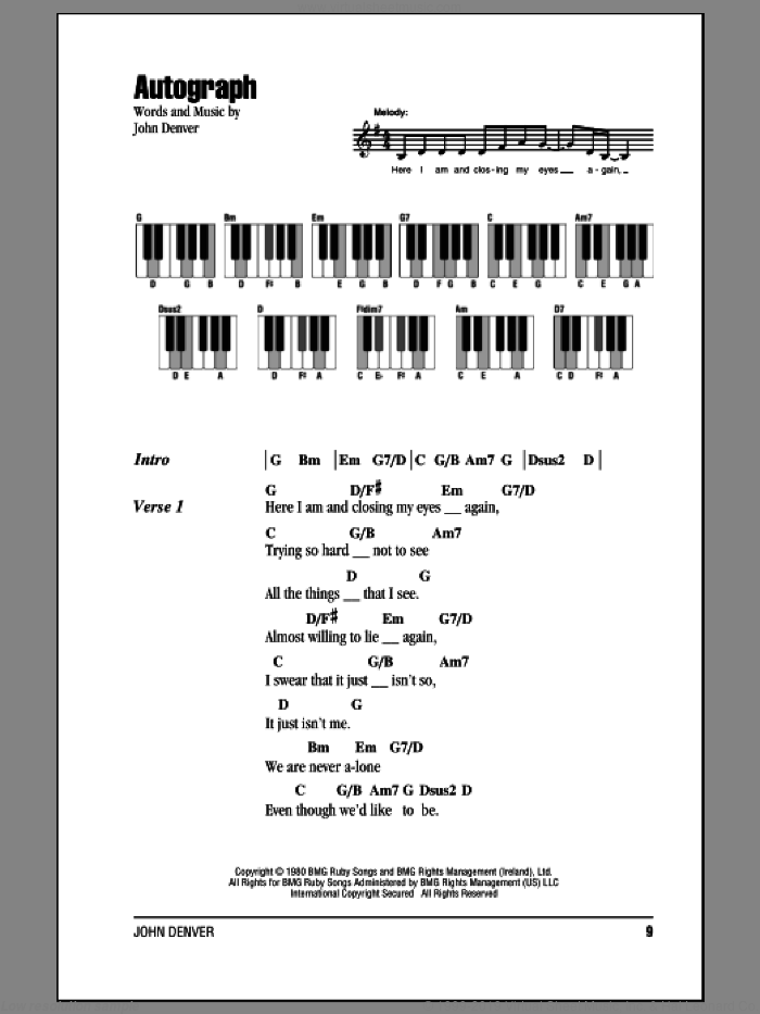 Autograph sheet music for piano solo (chords, lyrics, melody) by John Denver. Score Image Preview.