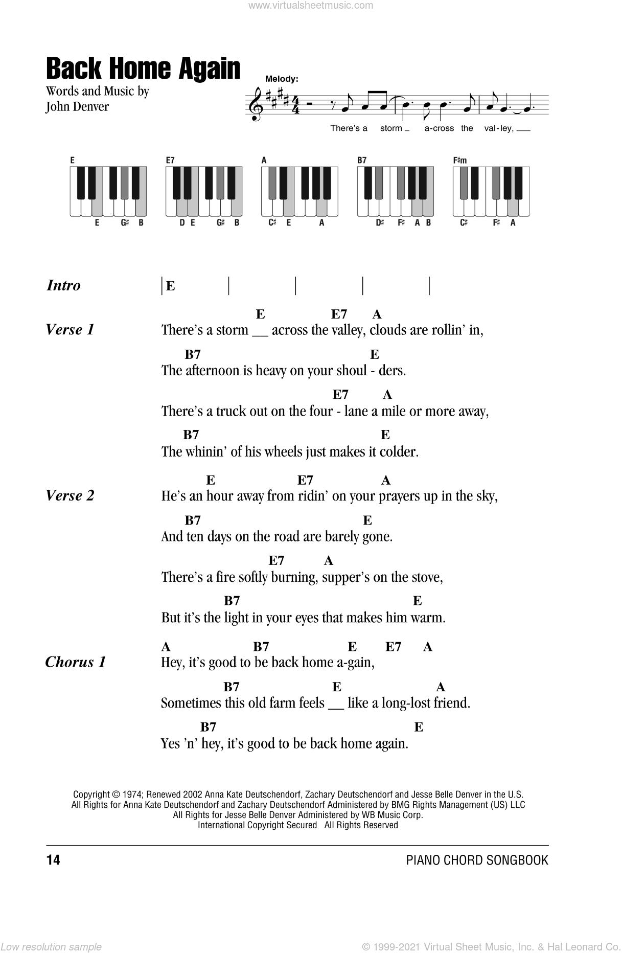 Back Home Again sheet music for piano solo (chords, lyrics, melody) by John Denver, intermediate piano (chords, lyrics, melody)