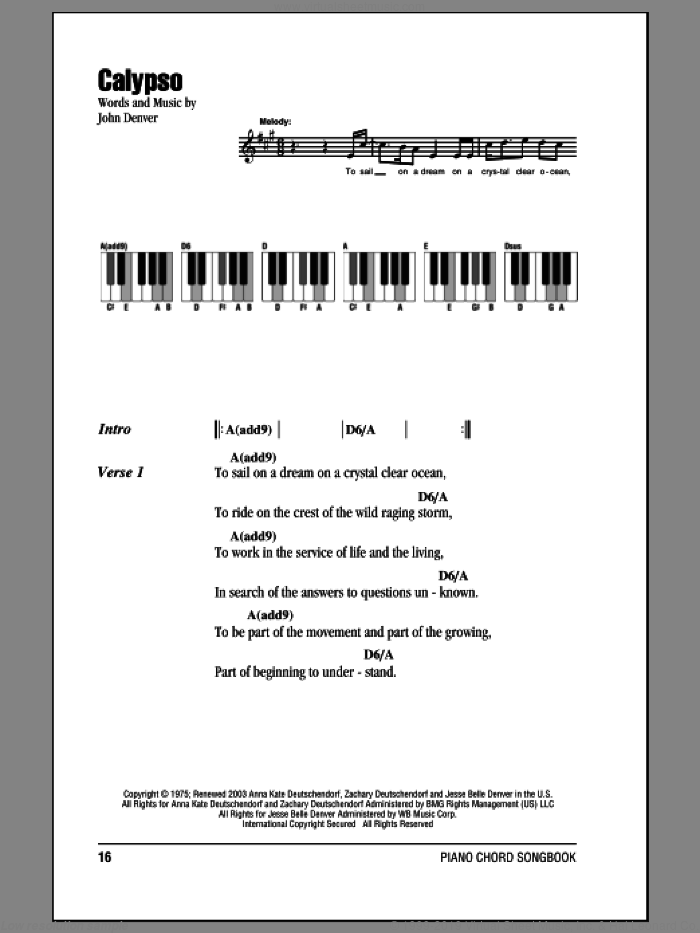 Calypso sheet music for piano solo (chords, lyrics, melody) by John Denver, intermediate piano (chords, lyrics, melody). Score Image Preview.