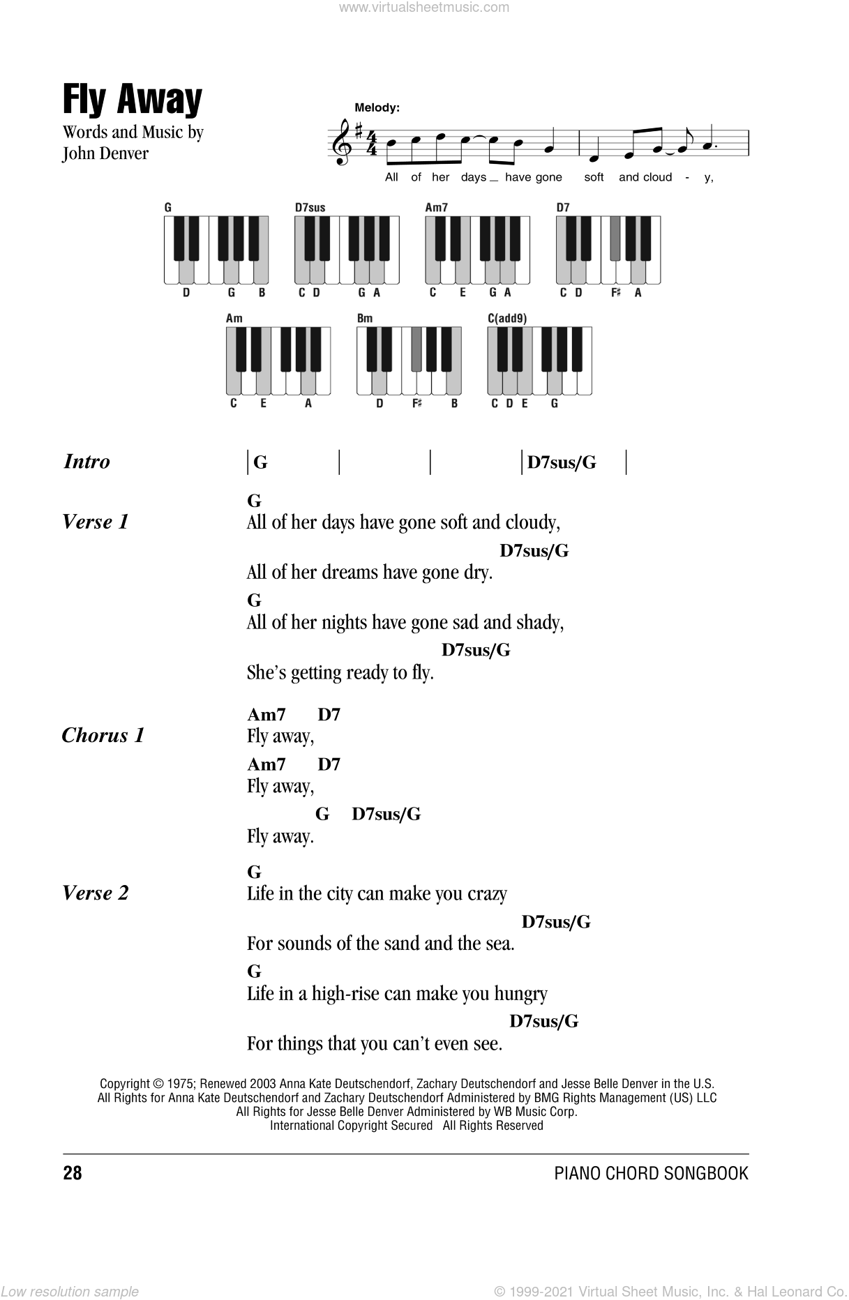 Fly Away sheet music for piano solo (chords, lyrics, melody) by John Denver. Score Image Preview.
