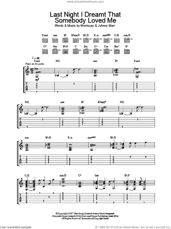 Last Night I Dreamt That Somebody Loved Me sheet music for guitar (tablature) by The Smiths, Johnny Marr and Steven Morrissey, intermediate skill level