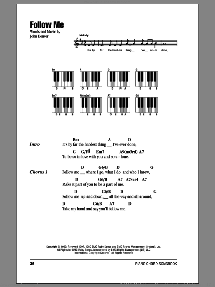 Follow Me sheet music for piano solo (chords, lyrics, melody) by John Denver. Score Image Preview.