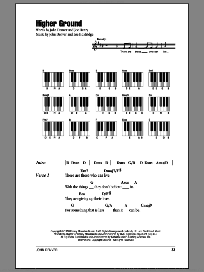 Higher Ground sheet music for piano solo (chords, lyrics, melody) by John Denver, Joe Henry and Lee Elwood Holdridge, intermediate piano (chords, lyrics, melody)