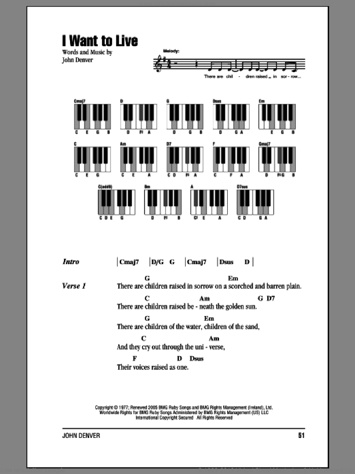 I Want To Live sheet music for piano solo (chords, lyrics, melody) by John Denver. Score Image Preview.
