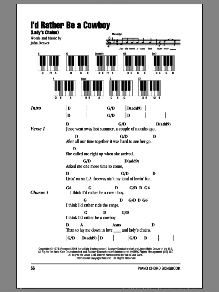 I'd Rather Be A Cowboy (Lady's Chains) sheet music for piano solo (chords, lyrics, melody) by John Denver. Score Image Preview.