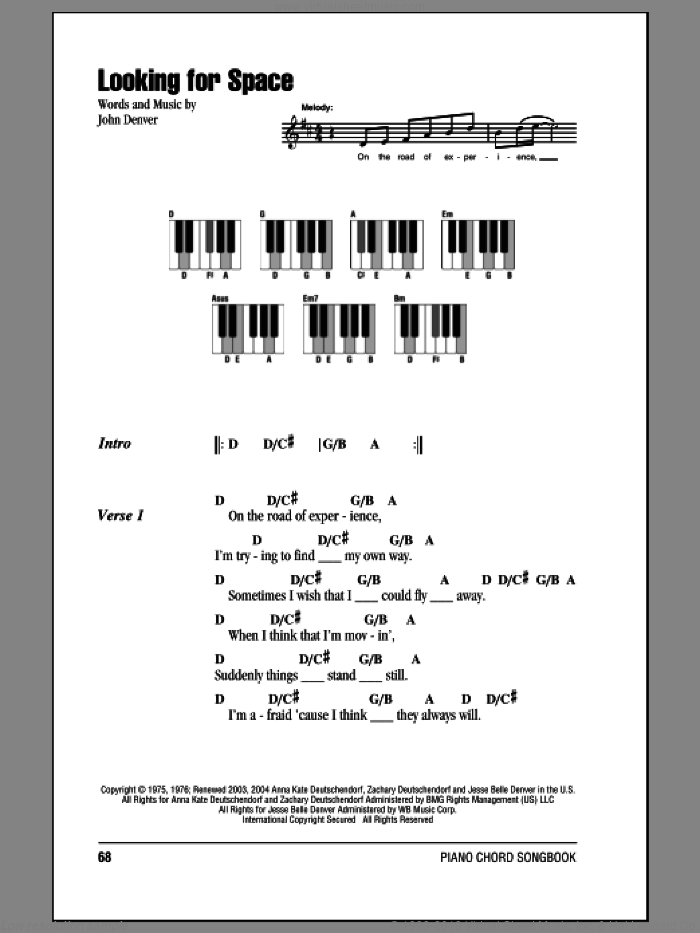 Looking For Space sheet music for piano solo (chords, lyrics, melody) by John Denver. Score Image Preview.