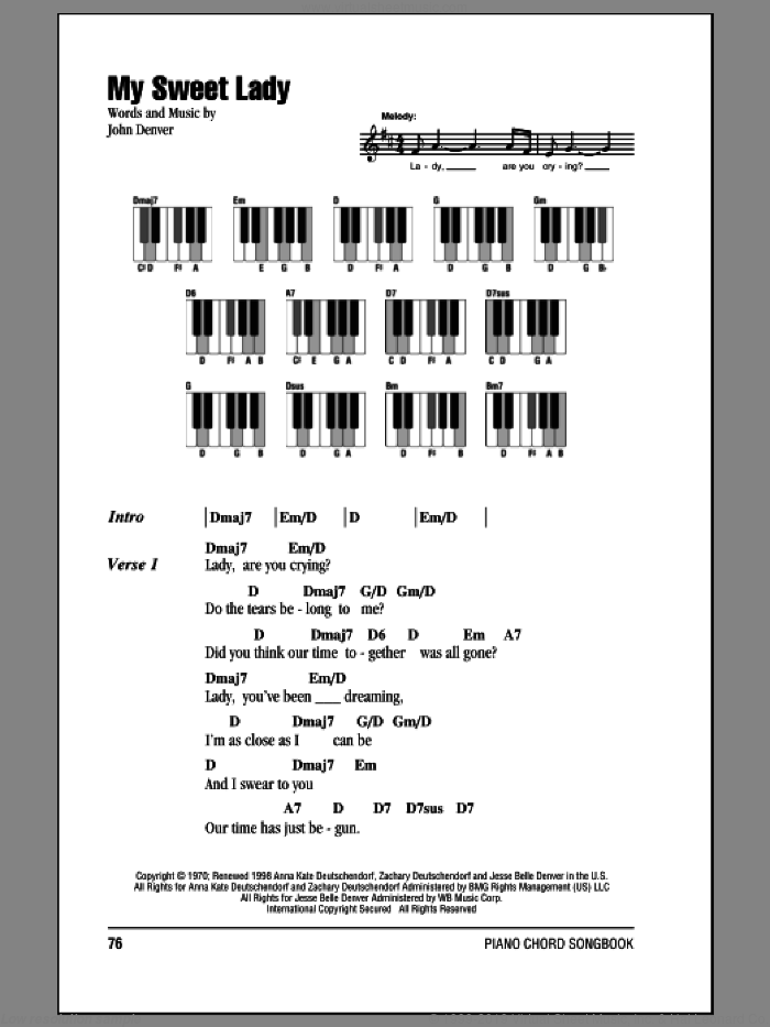 My Sweet Lady sheet music for piano solo (chords, lyrics, melody) by John Denver. Score Image Preview.