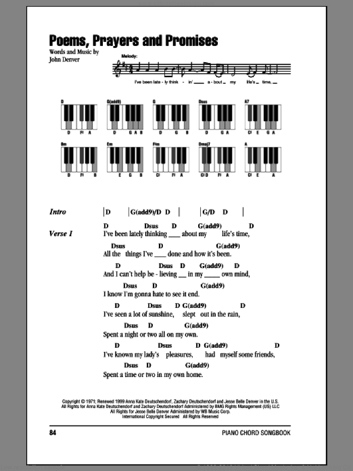Poems, Prayers And Promises sheet music for piano solo (chords, lyrics, melody) by John Denver, intermediate piano (chords, lyrics, melody)