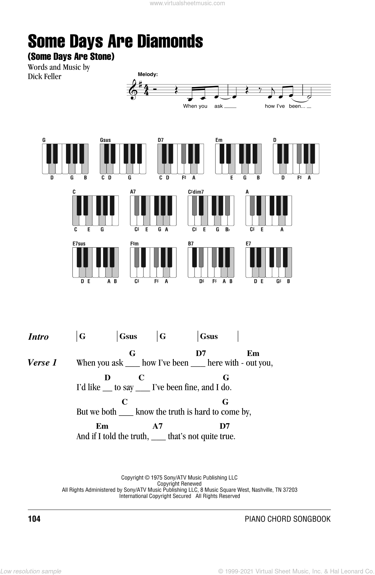 Some Days Are Diamonds (Some Days Are Stone) sheet music for piano solo (chords, lyrics, melody) by Dick Feller and John Denver. Score Image Preview.