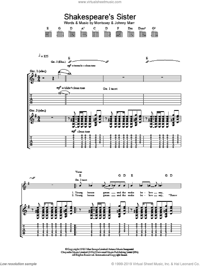 Shakespeare's Sister sheet music for guitar (tablature) by Steven Morrissey, The Smiths and Johnny Marr. Score Image Preview.