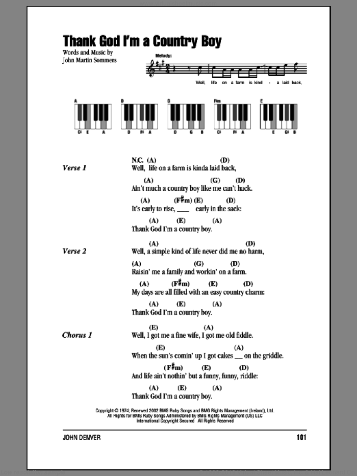 Thank God I'm A Country Boy sheet music for piano solo (chords, lyrics, melody) by John Denver, intermediate piano (chords, lyrics, melody). Score Image Preview.