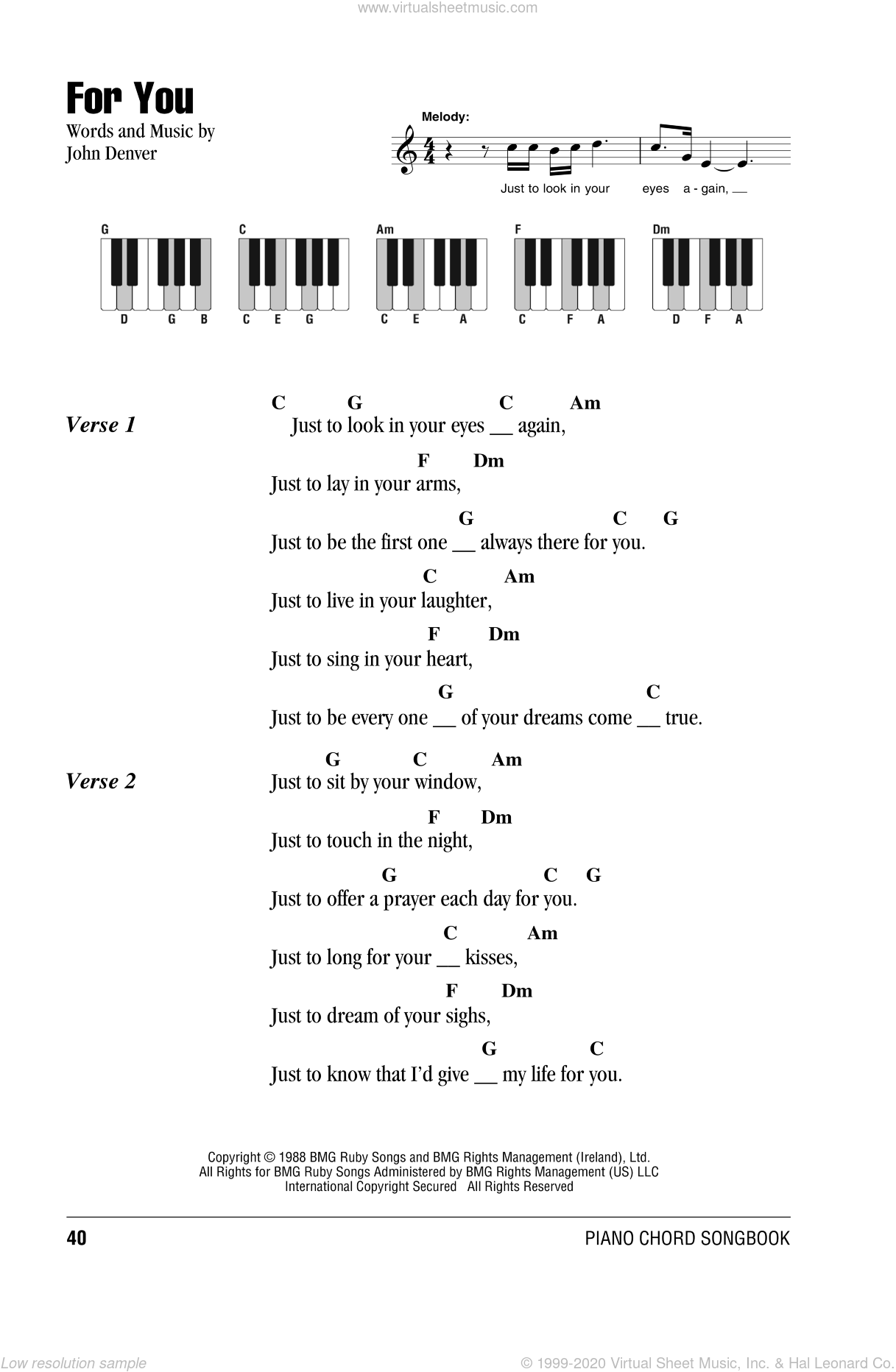 For You sheet music for piano solo (chords, lyrics, melody) by John Denver, intermediate piano (chords, lyrics, melody). Score Image Preview.