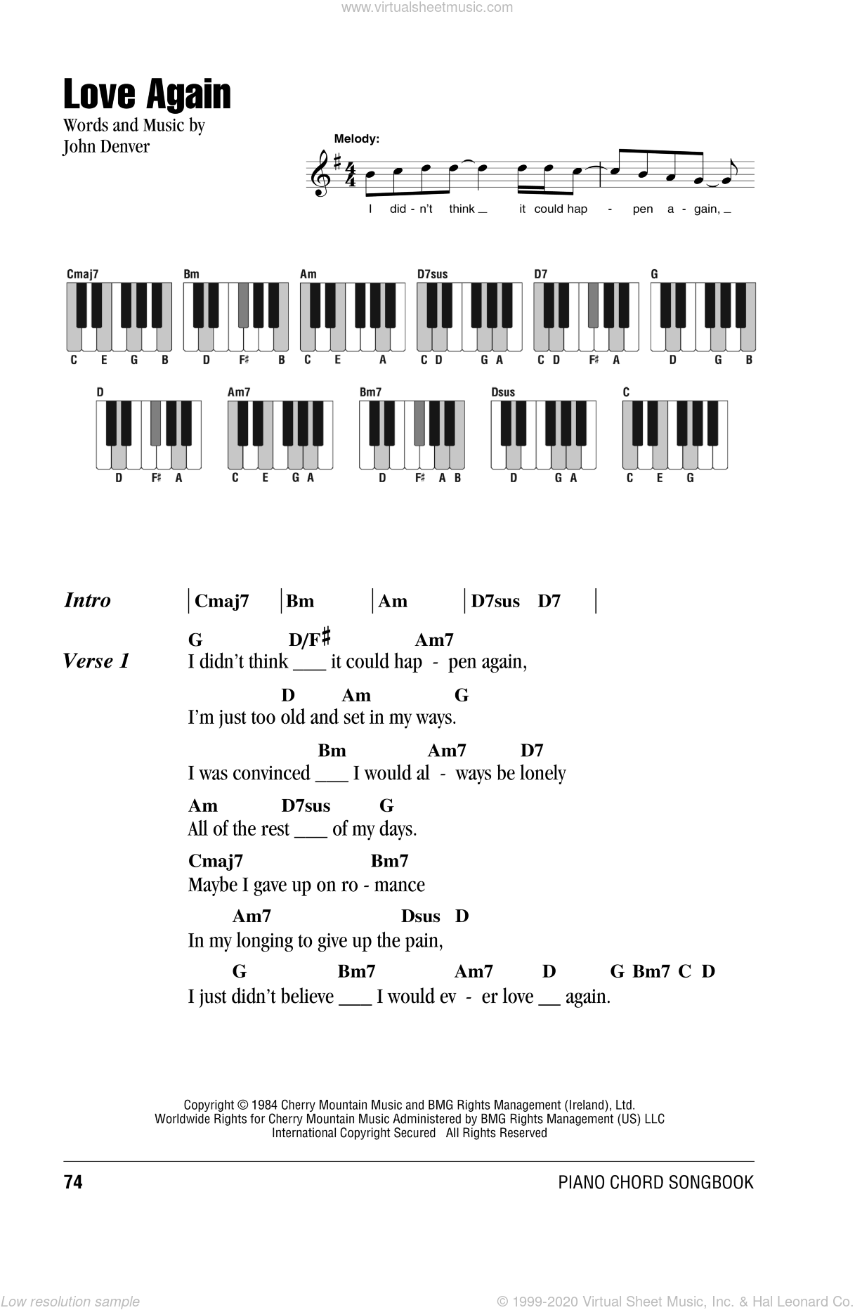 Love Again sheet music for piano solo (chords, lyrics, melody) by John Denver. Score Image Preview.