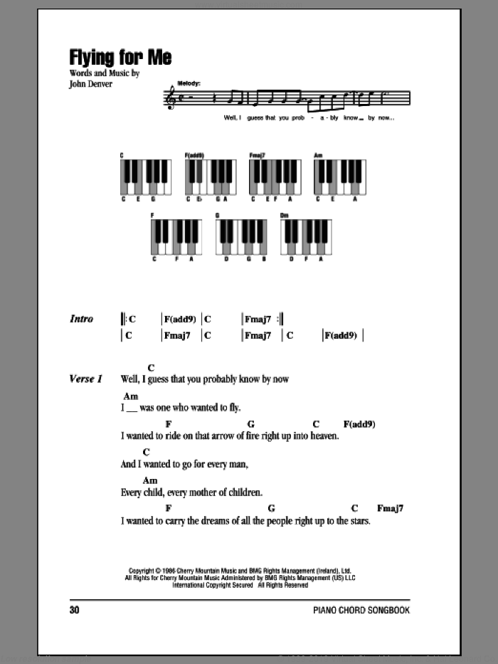 Flying For Me sheet music for piano solo (chords, lyrics, melody) by John Denver, intermediate piano (chords, lyrics, melody). Score Image Preview.