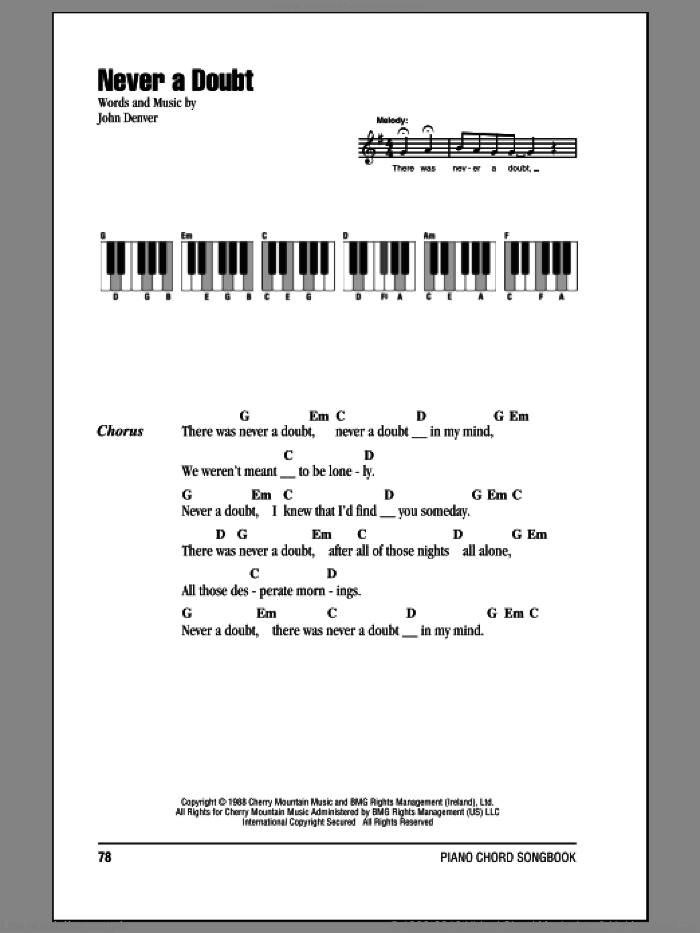 Never A Doubt sheet music for piano solo (chords, lyrics, melody) by John Denver. Score Image Preview.