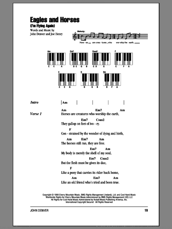 Eagles And Horses (I'm Flying Again) sheet music for piano solo (chords, lyrics, melody) by John Denver and Joe Henry. Score Image Preview.
