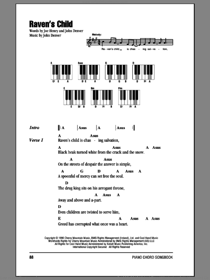 Raven's Child sheet music for piano solo (chords, lyrics, melody) by Joe Henry and John Denver. Score Image Preview.
