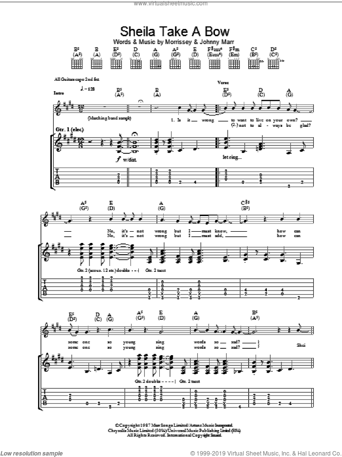 Sheila Take A Bow sheet music for guitar (tablature) by The Smiths, Johnny Marr and Steven Morrissey. Score Image Preview.