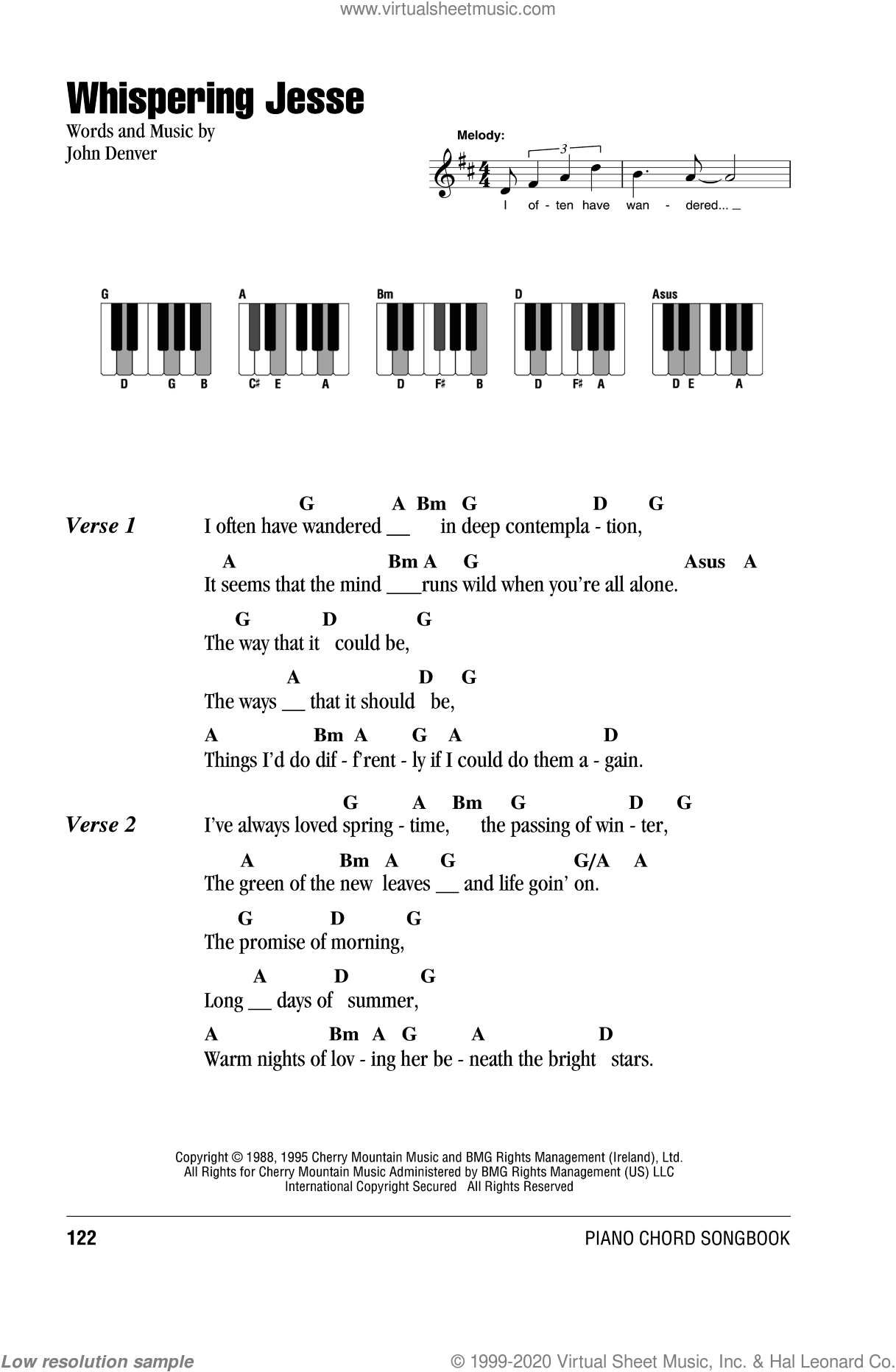 Whispering Jesse sheet music for piano solo (chords, lyrics, melody) by John Denver, intermediate piano (chords, lyrics, melody). Score Image Preview.