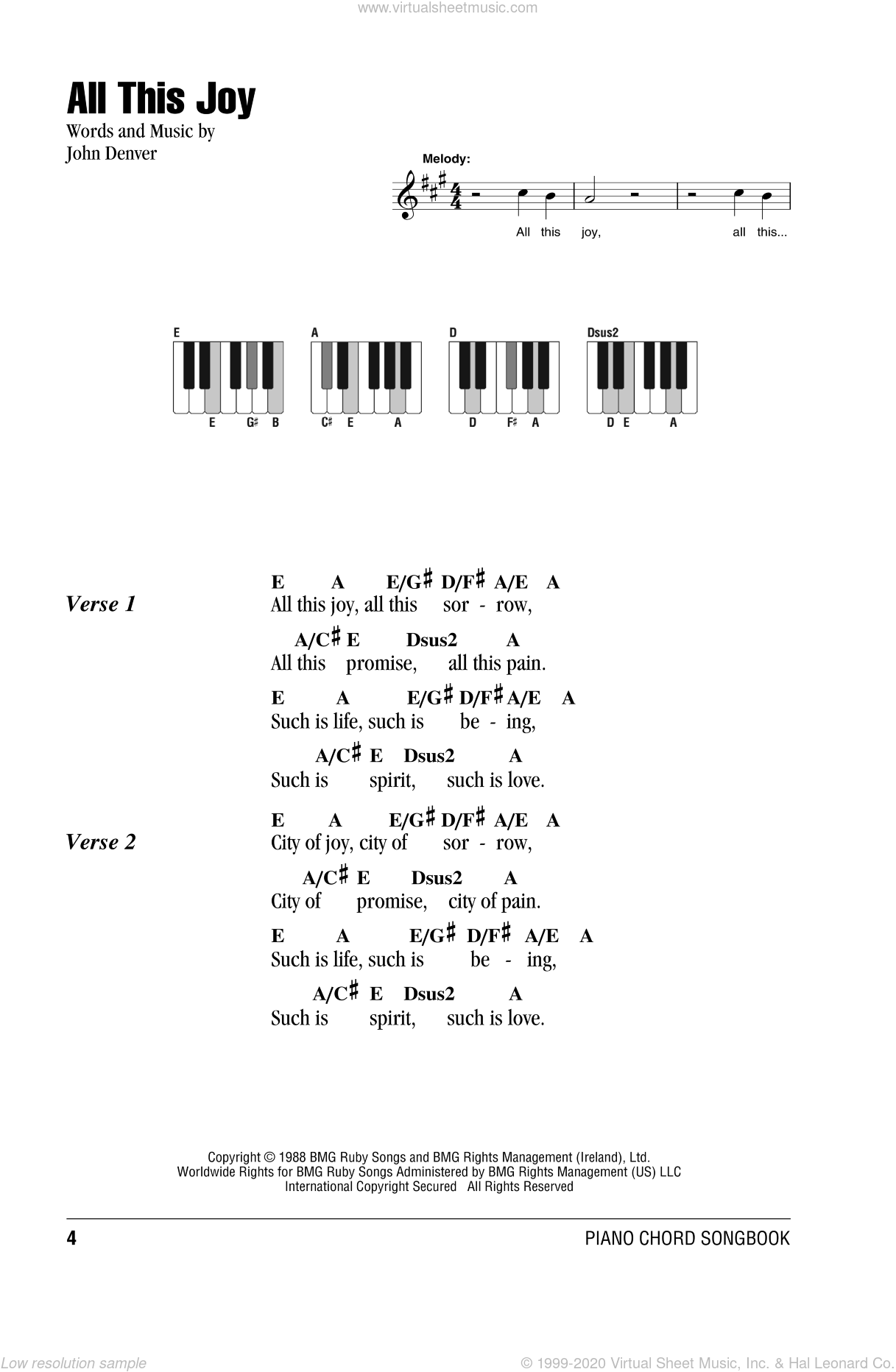 All This Joy sheet music for piano solo (chords, lyrics, melody) by John Denver. Score Image Preview.
