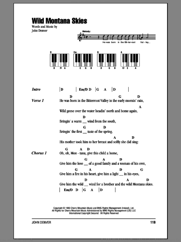 Denver Wild Montana Skies Sheet Music For Piano Solo Chords