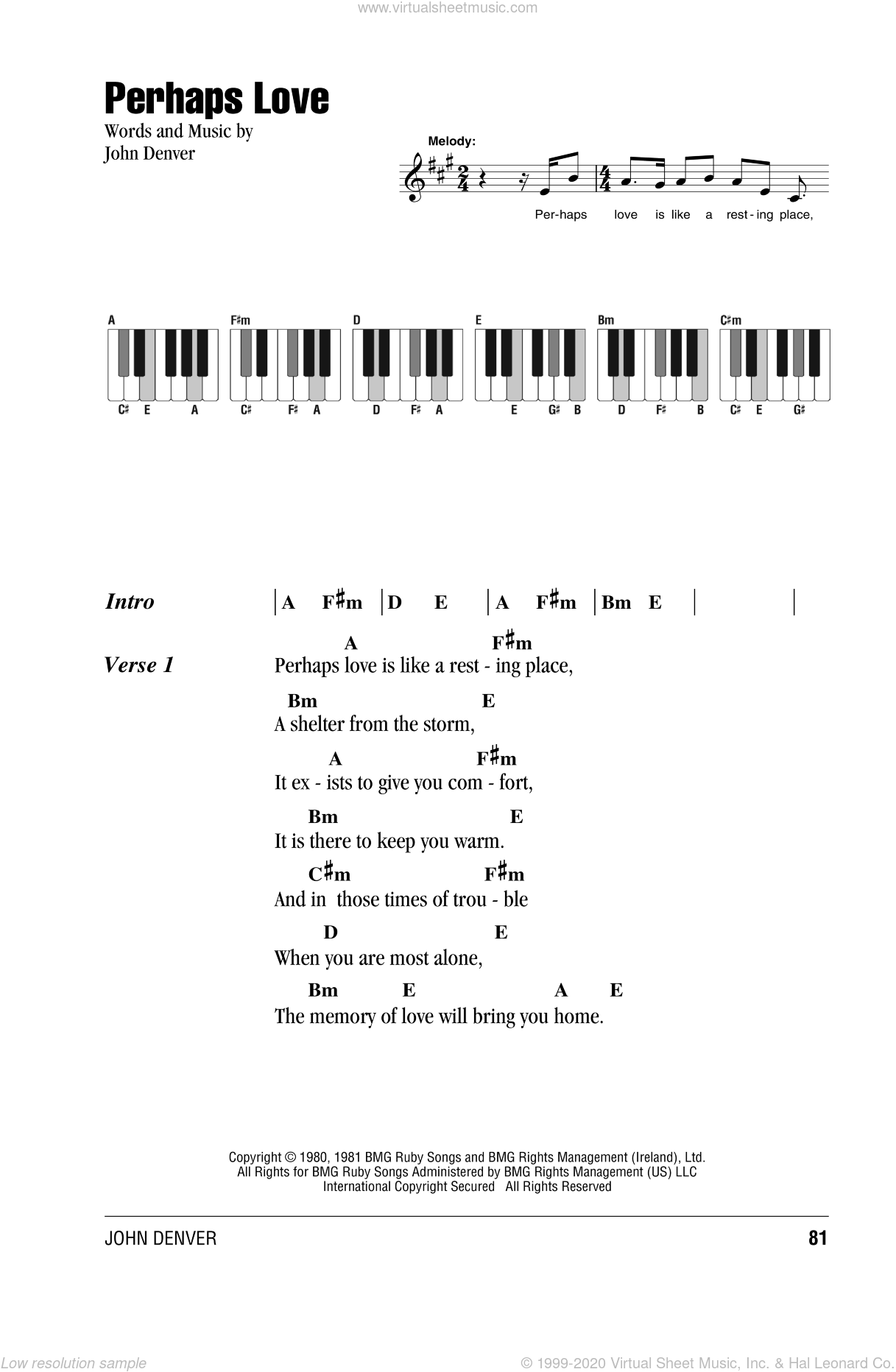 Perhaps Love sheet music for piano solo (chords, lyrics, melody) by John Denver, intermediate piano (chords, lyrics, melody)
