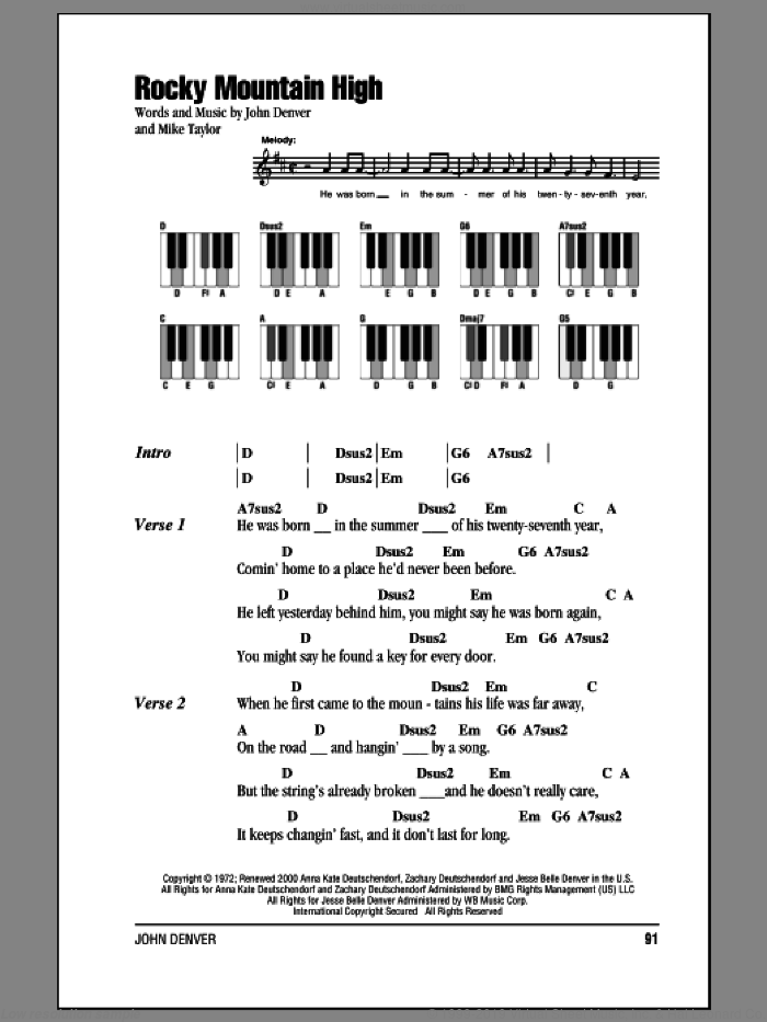 Rocky Mountain High sheet music for piano solo (chords, lyrics, melody) by John Denver and Mike Taylor, intermediate piano (chords, lyrics, melody)