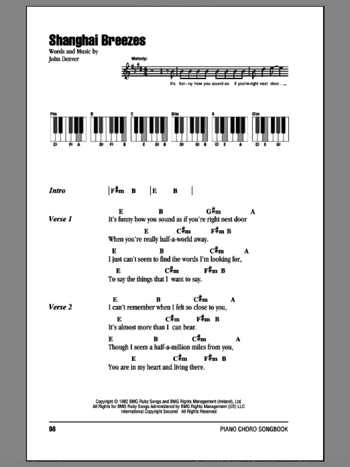 Shanghai Breezes sheet music for piano solo (chords, lyrics, melody) by John Denver, intermediate piano (chords, lyrics, melody)