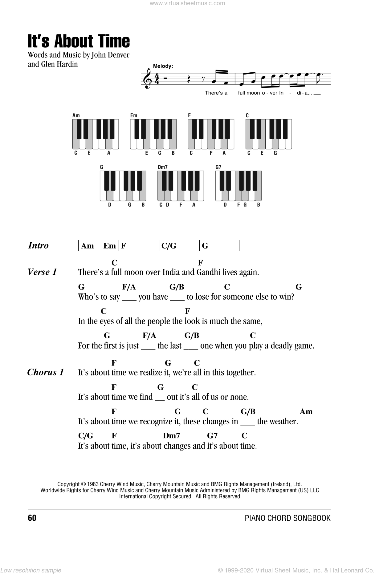 It's About Time sheet music for piano solo (chords, lyrics, melody) by Glen Hardin and John Denver