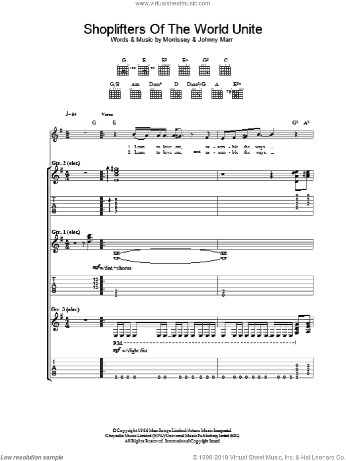Shoplifters Of The World Unite sheet music for guitar (tablature) by Steven Morrissey, The Smiths and Johnny Marr. Score Image Preview.
