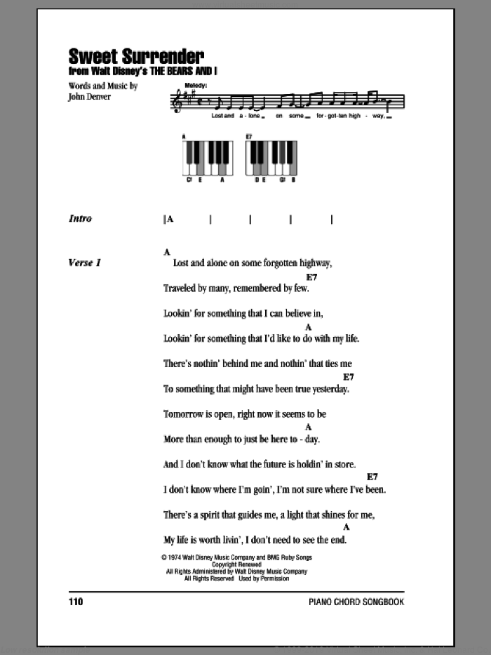 Sweet Surrender sheet music for piano solo (chords, lyrics, melody) by John Denver, intermediate piano (chords, lyrics, melody). Score Image Preview.