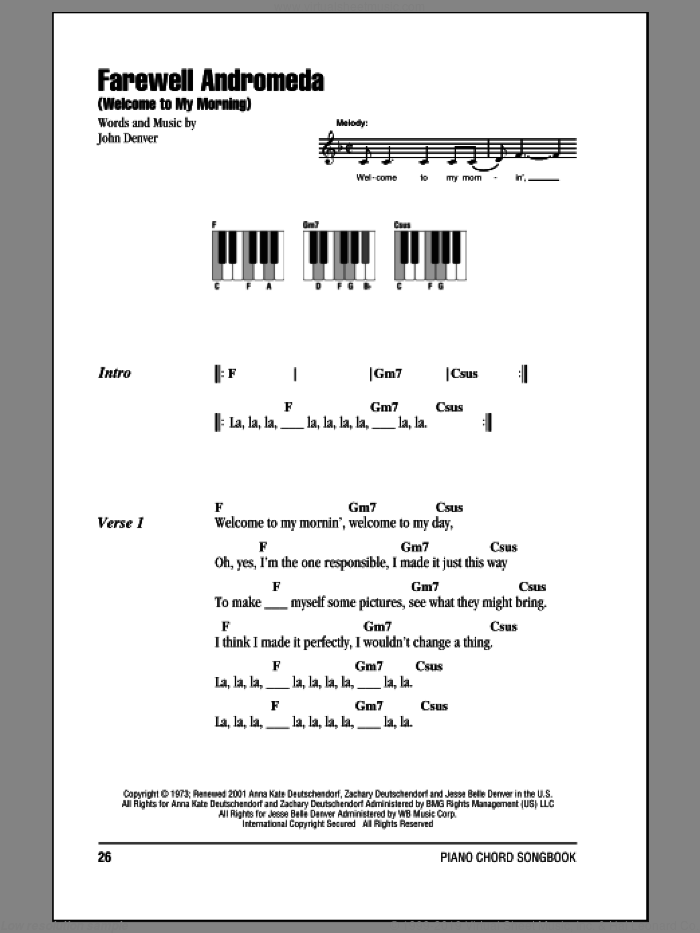 Farewell Andromeda (Welcome To My Morning) sheet music for piano solo (chords, lyrics, melody) by John Denver, intermediate piano (chords, lyrics, melody). Score Image Preview.