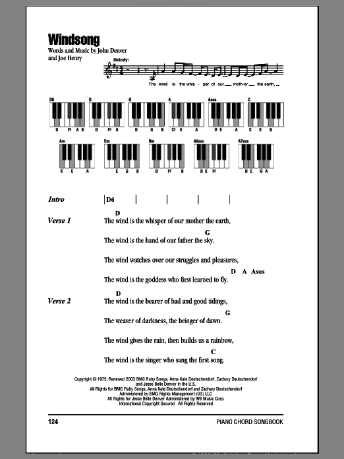 Windsong sheet music for piano solo (chords, lyrics, melody) by John Denver, intermediate piano (chords, lyrics, melody). Score Image Preview.
